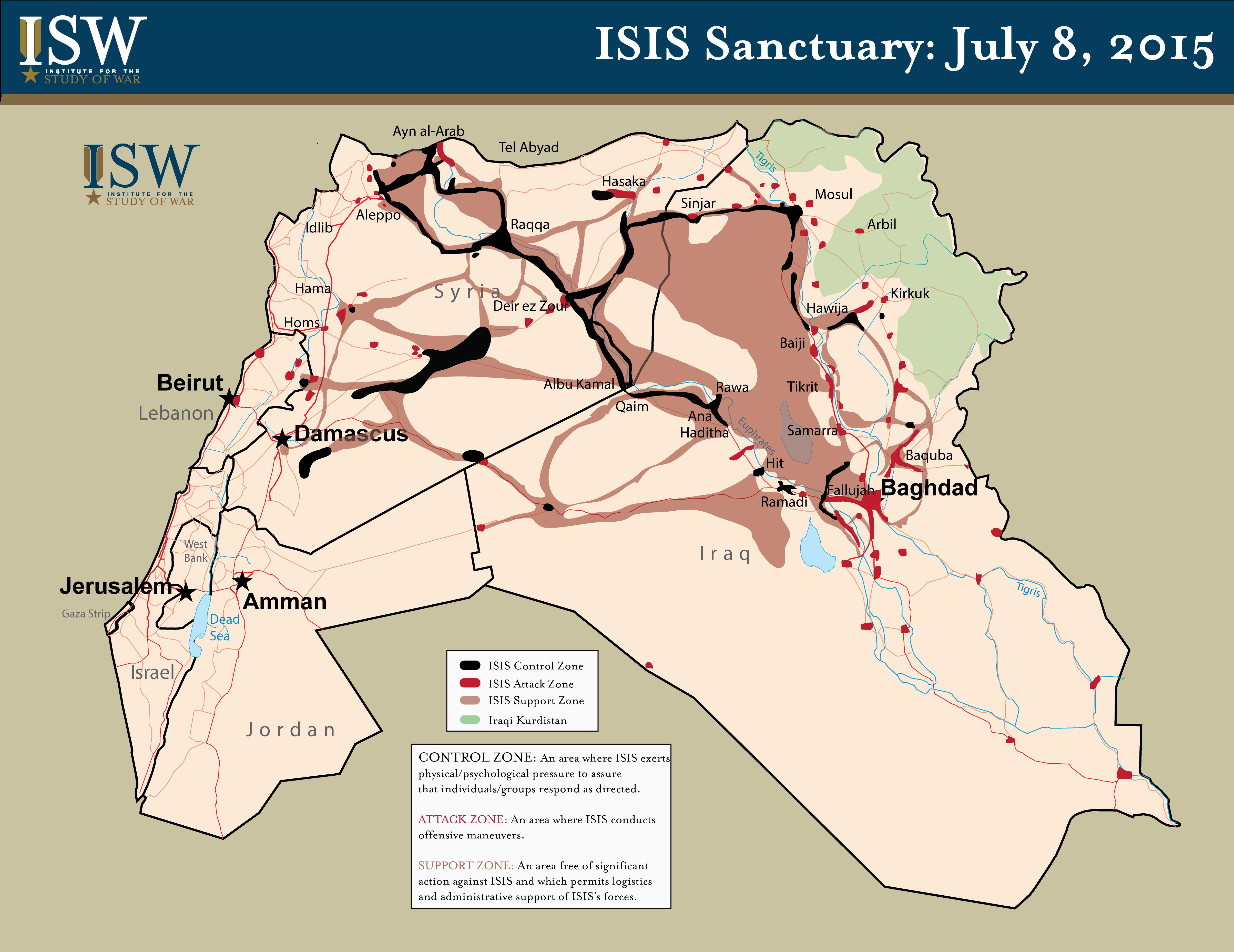 État islamique : carte de l'occupation actuelle